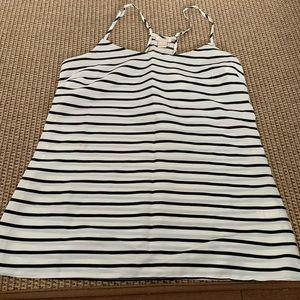 J.Crew white and black striped tank top size 0